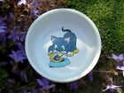 CAT BOWL: WHITE CERAMIC WITH CUTE BLUE CARTOON CAT x 1 or 2 BOWLS by Trixie