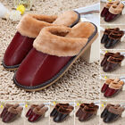 Warm Winter Cow Leather Home Slippers Men Indoor Floor Outdoor House Shoes 1Pair