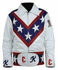Evel Knievel Daredevil Motorcycle Style White Faux Leather Costume Mens Jacket