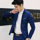 Mens Blazers Slim Fit Jackets For Men One Button Suit Young S-3XL US Fashion New