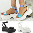 New Womens White Silver Hologram Perpsex Chunky Sandals Sneakers Platform Sole