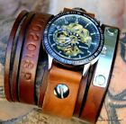 Personalizable leather cuff watch with Steampunk Watch