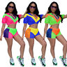 New Women's Short Sleeves Hooded Zipper Mesh Patchwork Casual Sporty Jumpsuit2ps