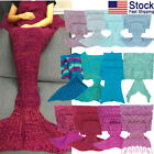 US Mermaid Tail Blanket Sleeping Bag Handcrafted Crochet Knitted for Adults Kids image