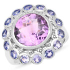 925 Sterling Silver Genuine Amethyst and Tanzanite Ring (6.65 Carat) Multiple Si