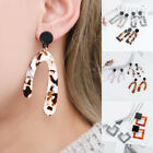 Long Large Square Tortoise Acrylic Earrings Faux Tortoiseshell Resin Ear Studs