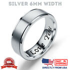 """I Love You"" Couple's Matching Promise Ring Men Women Matte Finish Wedding Band"