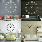 Large Modern Wall Clock DIY Stick On 3D Metal Frameless Numeral Home Decoration