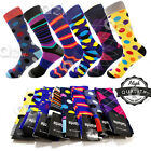 3-12 Pairs Mens Fun Funky and Colorful Patterned Dress Socks Wedding Groovy Sock