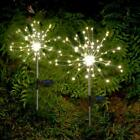 90 LED Solar Powered Firework Starburst Stake Fairy Light Garden Outdoor Wedding
