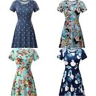 HUHOT Women Short Sleeve Round Neck Summer Casual Flared Midi Dress Size S - 2XL
