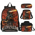 Monster Godzilla Kids School Backpack Insulated Lunch Box Sling Bag Pen Case Lot
