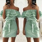 4 colour  Fashion Women's New Striped Dresses Sexy Ruffle Dress Casual Style Com