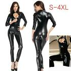 Sexy Women Faux Leather Bodysuit Zipper Wet Look Catsuit Zentai Jumpsuits SH70