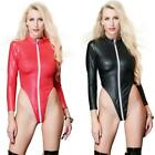 Sexy Faux Leather Bodysuit Romper Catsuit Jumpsuits Zip Leotard WetLook Playsuit