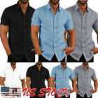 Luxury Men's Short Sleeve Casual Loose Linen T-shirt Dress Shirt Blouse Tops Tee image