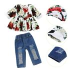 Summer Baby Girl Short Sleeve Flower Shirt + Ripped Jeans Outfits Set New