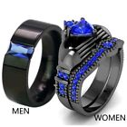 Couple Rings Black Plated Titanium Steel Blue Cz Mens Band Womens Wedding Rings image