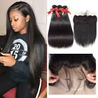 Straight Hair Weave With Frontal Closure Lace Frontal Bundles Human Extension