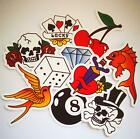 TATTOO OLD SCHOOL Stickers / Scrapbook Decoration Planner Heart Skull Lucky Card £1.99 GBP on eBay