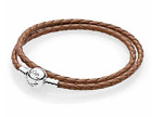 PANDORA Brown Braided Double-Leather Charm Bracelet image