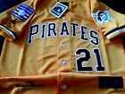 Pittsburgh Pirates yellow #21 ROBERTO CLEMENTE 2patch SEWN Majestic Jersey men's on Ebay