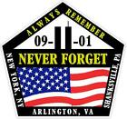 9/11 Always Remember Ny, Pa Va Never Forget Sept 2001 Vinyl Decal Sticker