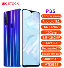 "P35 Pro Smartphone 6.3"" Hd Full Screen 4800mah Android 9.1 Face Id Mobile Phone"