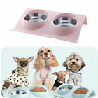 Double Bowls with Raised Stand For Cat Pet Dog Puppy Non-Slip Steel Food Dish UK