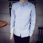 Men's Long Sleeve Oxford Formal Solid Suit Slim Fit Tee Dress Shirts Blouse NEW