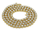 14K Yellow Gold Real Diamond 20 Pointer Tennis Chain Necklace 5MM 16-28""