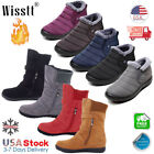 Kyпить Womens Winter Warm Ankle Boots Ladies Fur Snow Buckle Flats Suede Shoes Booties на еВаy.соm