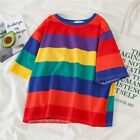 Women Summer Rainbow Striped T-shirt Tops Girls Casual Short Sleeve O-Neck Tops