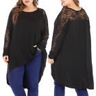 Autumn Spring Women's Casual Loose Batwing Long Sleeve Lace T-shirt Tops 5XL