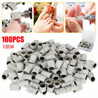 100PCS 180# Sanding Bands Set Nail Drill Machine Bits Manicure Pedicure Tool Set
