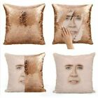 1 Pc Mermaid Nicolas Cage Reversible Sequin Pillow Cover Throw Pillowcase Cages