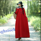 Lady loose full length dress Chinese coat Hooded retro cloak Linen cotton Casual