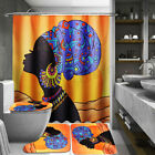 Waterproof African Woman Shower Curtain Bathroom Toilet Non-Slip Cover Rug