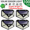 100LED Solar Wall Light Motion Sensor Outdoor Garden Street Yard Lamp Waterproof