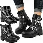New Womens Ladies Chunky Black Ankle Boots Low Platform Heel Studded Biker Punk
