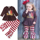 Fashion Kid Baby Girls Boutique Thanksgiving Dress Tops+Stripe Pants Outfits Set