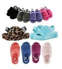 UGG Soft Fluff Yeah Slide Slippers Women's Shoes Sandal Black Pink Leopard +