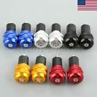 US STOCK Pair 22mm Motorcycle Anti Vibration Handle Bar Grips End Plug Ends Caps image