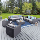 4/5PC SEATER RATTAN GARDEN FURNITURE SOFA DINING TABLE SET CONSERVATORY OUTDOOR