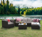 Conservatory 5 Piece Outdoor Rattan Sofa Garden Furniture Patio Set Table Chairs