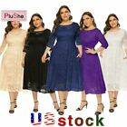Women Plus Size Pockets Party Wedding Evening Formal Lace Midi Dresses 14W-26W