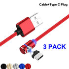 3 Pack Magnetic For iPhone 90° Elbow Micro USB Type C IOS Fast Charging Cable US