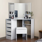 Modern Corner Dressing Table Makeup Desk w/5 Drawers & 3 Mirrors & Stool Bedroom