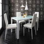 Glass Dining Table and 4 Chairs Set - 4 Seater