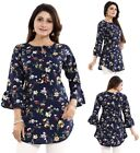 Women Indian Kurti Tunic Kurta Shirt Printed Floral Frilled Blue Dress SC2477